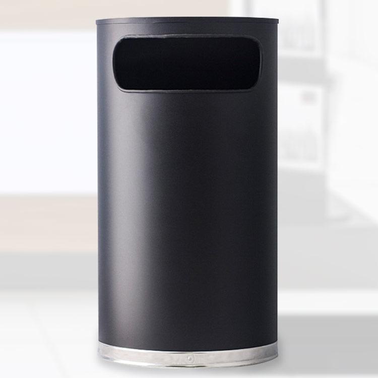 Half Round Waste Container Shown In Black