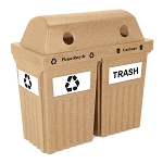 Recycle & Trash Bin IV Indoor-Outdoor Bin - Double in Sandstone