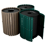 Triple Recycling and Waste Barrel Station with Hinged Doors