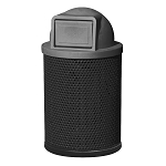 36 Gallon Round Perforated Steel Waste Receptacle with Dome Lid