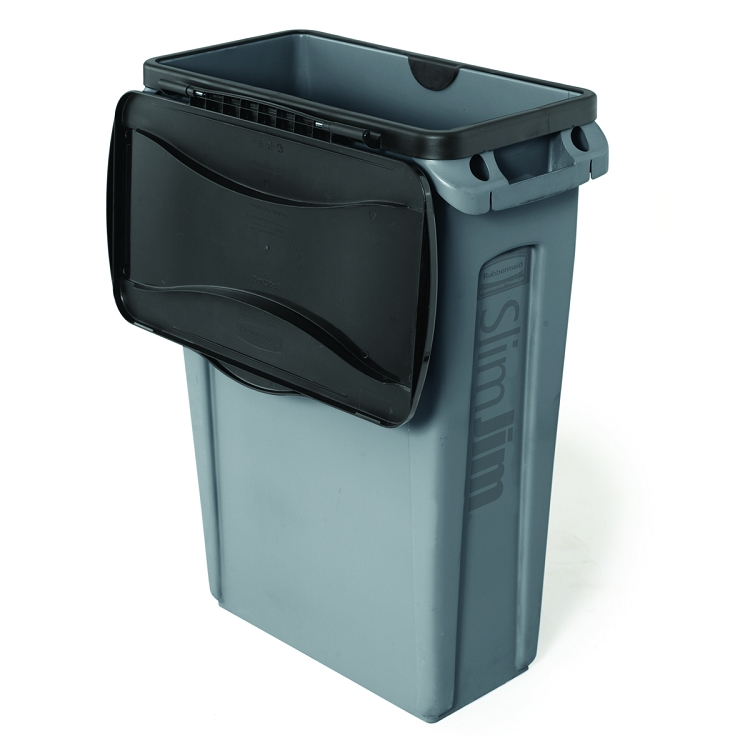23 Gal Slim Jim Waste Bin With Venting Channels Trashcans Warehouse