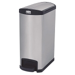 13 Gallon Stainless Steel Step-on Slim Jim in Black
