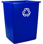 Glutton Recycling Container, Rectangular, 56 gal, Blue