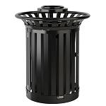 35 Gallon Metal Slat Trash Can with Ashtray Lid and Hinged Side Door