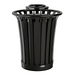 35 Gallon Metal Slat Trash Can with Ashtray Lid