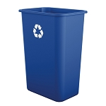 10 Gallon Desk-side Plastic Resin Recycle Bin (12 Pack)