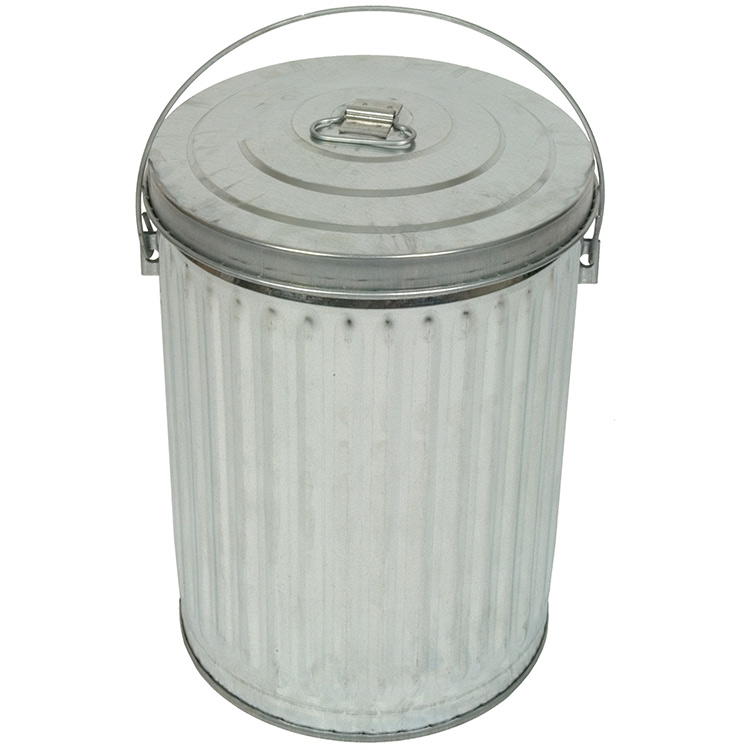 White Metal Garbage Can With Lid Interior Design Ideas