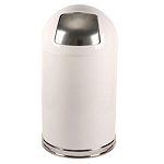 Dome-Top Trashcan with Push Door in Classic White