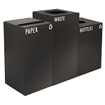 GeoCube Three-Stream Recycling Station - Charcoal