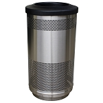 35-Gallon Perforated Waste Receptacle with Flat Top in Stainless Steel