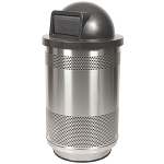 55-Gallon Perforated Waste Receptacle with Dome Top in Stainless Steel