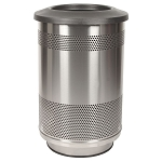 55-Gallon Perforated Waste Receptacle with Flat Top in Stainless Steel