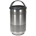 55-Gallon Perforated Waste Receptacle with Hood Top in Stainless Steel