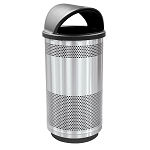 35-Gallon Perforated Waste Receptacle with Hood Top in Stainless Steel