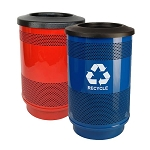 Stadium 55 Gallon Perforated Waste and Recycling Station