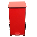 24 Gallon Square Step-on Metal Receptacle in Red