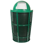 Outdoor Expanded Metal Waste in GREEN | Dome Top | Liner included