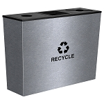 Metro Triple-Stream Waste and Recycling Receptacles in Stainless Steel