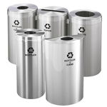 Glaro Waste and Recycling Containers in Satin Aluminum