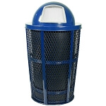 Outdoor Expanded Metal Waste in BLUE | Dome Top | Liner included