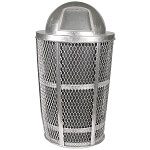 Outdoor Expanded Metal Waste GALVANIZED | Dome Top | Liner included