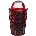 Outdoor Expanded Metal Waste in RED | Dome Top | Liner included