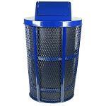 Swing Top | Outdoor Expanded Metal Waste in BLUE | Liner included