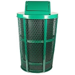 Swing Top | Outdoor Expanded Metal Waste in GREEN | Liner included