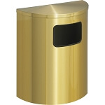 Glaro Side-Opening XL Half-Round Satin Brass Waste Barrel
