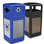 StoneTec Waste & Recycling Station with Dome Lids