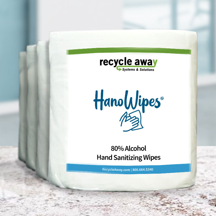 Hanowipes 80% Alcohol Hand & Surface Wipes (4 rolls per case)