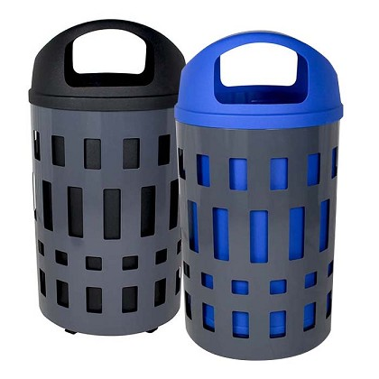 The Vancouver Trash & Recycling Bin Combo with Dome