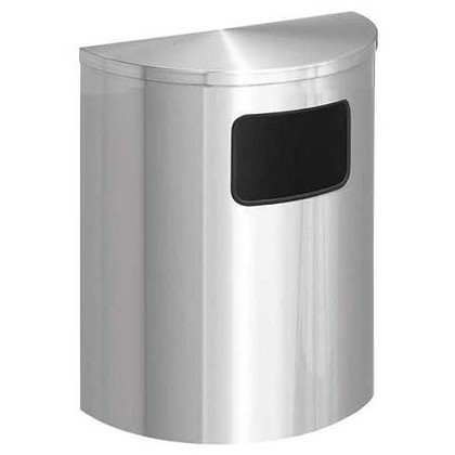 Glaro Side-Opening XL Half-Round Satin Aluminum Waste Barrel