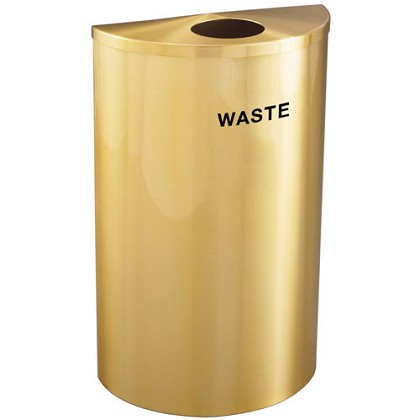 Glaro VALUE SERIES 16-gallon Half-Round Waste Container in Satin Brass