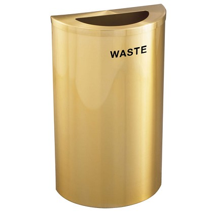 Glaro 14-Gallon Half Round Waste Barrel in Satin Brass