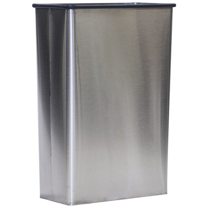Modern Rectangular Wastebasket in Stainless Steel