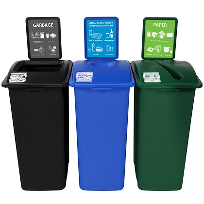 NYC Compliant Simple Sort XL Three-Stream Recycling Station