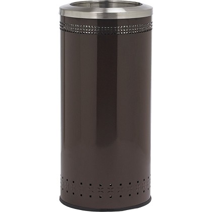 Imprinted 360 Open Top Waste Receptacle in Brown - 25 Gallon