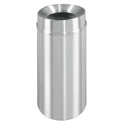 New Yorker Satin Aluminum 12 Gallon Waste Receptacle w/Funnel Top