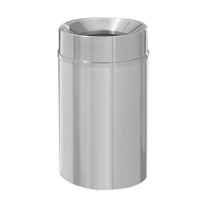 New Yorker Satin Aluminum 33 Gallon Waste Receptacle w/Funnel Top