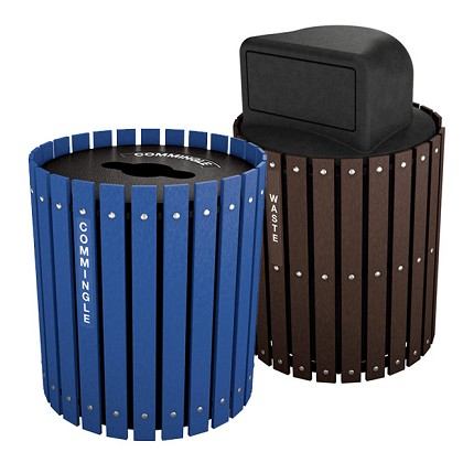 two stream recycling barrel combo trash cans warehouse. Black Bedroom Furniture Sets. Home Design Ideas