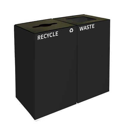 GeoCube Two-Stream Recycling and Waste Station - Charcoal