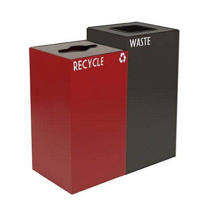 GeoCube Two-Stream Recycling and Waste Station - Custom