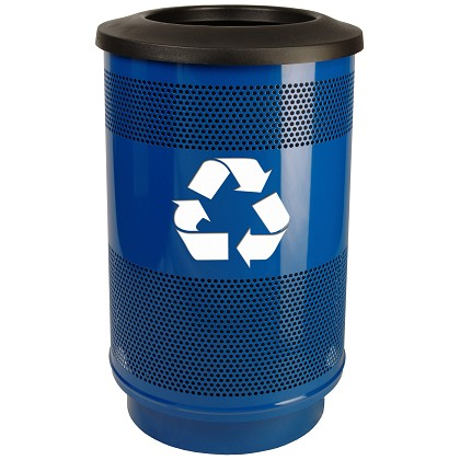 55-Gallon Perforated Recycling Receptacle with Flat Top