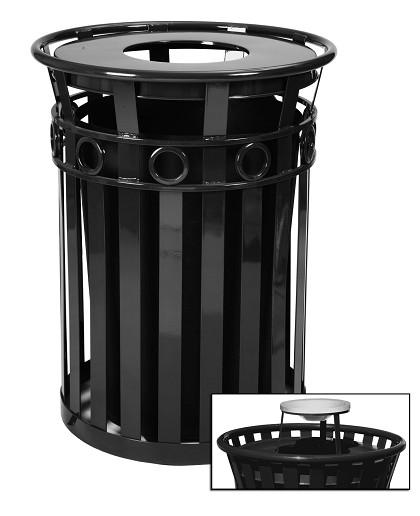 40 Gallon Oakley   Decorative Outdoor Steel Trash Cans   Trash Cans ...