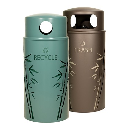 Nature Series 33 Gallon Recycling and Trash Combo - Bamboo