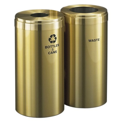 15-Gallon Glaro Two-Stream Waste and Recycling Station in Satin Brass