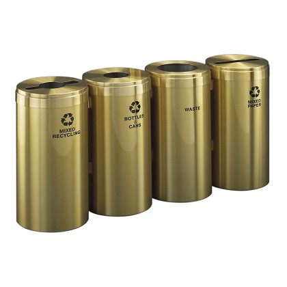 Glaro Four-Stream Waste and Recycling Station in Satin Brass