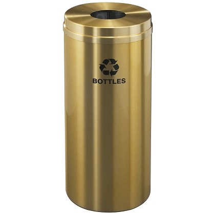 Glaro 12 Gallon Single Purpose Waste and Recycling Container in Satin Brass