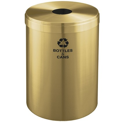 Glaro 41 Gallon VALUE SERIES Single Purpose Waste and Recycling Container in Satin Brass